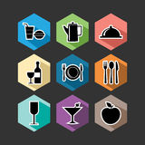 Food flat icons set illustration Stock Photos