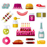 Food Flat Icons On White Background Stock Images