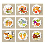 Food in flat illustration style. Top view Royalty Free Stock Image