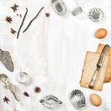 Food flat lay background Backing recipe book. Food flat lay background. Backing recipe book concept royalty free stock image