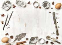 Food flat lay background Utensils ingredients spices. Food flat lay background. Utensils, ingredients and spices royalty free stock image