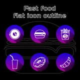 Food flat linear icons set. Fast food, pizzeria, cafe and restaurant menu items. Long shadow outline logo concepts. Vector line ar royalty free illustration