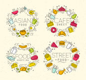Food flat monograms in retro Stock Images