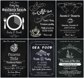 Food flyers. Vector set of 6 food flyers, including coffee, dessert, sea food, wine , pizza and business lunch flyers Stock Image