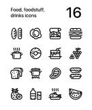 Food, foodstuff, drinks icons for web and mobile design pack 1 Royalty Free Stock Photography