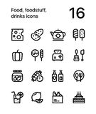 Food, foodstuff, drinks icons for web and mobile design pack 2. 16 line black and white vector icons Royalty Free Stock Images