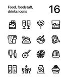 Food, foodstuff, drinks icons for web and mobile design pack 3. 16 line black and white vector icons Royalty Free Stock Photo