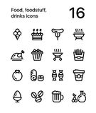 Food, foodstuff, drinks icons for web and mobile design pack 4. 16 line black and white vector icons Stock Image