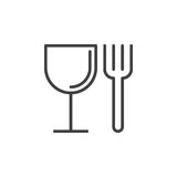 Food, fork and glass line icon, outline vector sign, linear style pictogram isolated on white. Restaurant symbol, logo illustration. Editable stroke. Pixel stock illustration