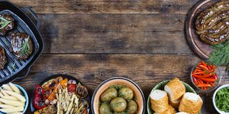 Food frame and barbecue dishes. stock image