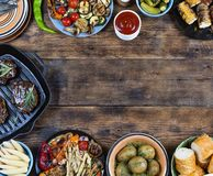 Food frame and barbecue dishes. stock images