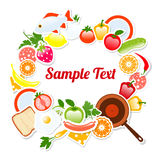 Food Frame Composition Text Template, Vector Illustration Royalty Free Stock Photos