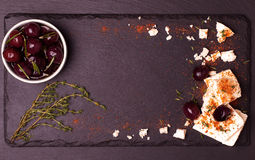 Food frame on dark stone background. Royalty Free Stock Photography