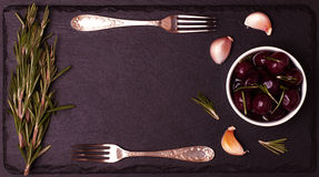 Food frame on dark stone background. Stock Images