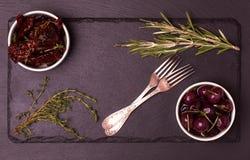 Food frame on dark stone background. Stock Photo