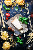 Food frame, italian food background, healthy food concept or ingredients for cooking pasta on a vintage background Stock Image