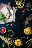 Food frame, italian food background, healthy food concept or ingredients for cooking pasta on a vintage background Stock Photos