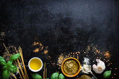 Food Frame, Italian Food Background, Healthy Food Concept Or Ingredients For Cooking Pesto Sauce On A Vintage Background Royalty Free Stock Photography