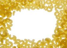 Food frame of macaroni. Isolated on white background Royalty Free Stock Images