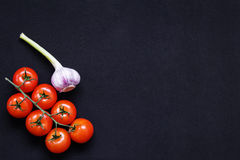 Food frame. Pasta ingredients. Cherry-tomatoes, spaghetti pasta, Royalty Free Stock Images