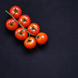 Food frame. Pasta ingredients. Cherry-tomatoes, spaghetti pasta, Stock Images