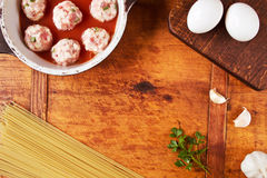 Food frame with pasta ingredients Stock Photo