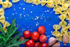 Food frame. Pasta ingredients.  Italian food cooking. Top view. Copy space. Stock Photo