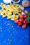 Food frame. Pasta salad ingredients.  Italian food cooking. Top view. Copy space. Stock Image