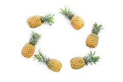 Food frame of pineapple fruits on white background. Flat lay, top view. Food concept stock photography
