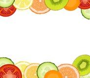 Food frame with realistic tomato, cucumber, lemon, carrot, grapefruit, orange, kiwi slices on white background, stock illustration