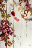 Food frame with wine, grapes and cheese Royalty Free Stock Photography