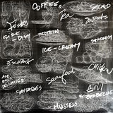 Food. Freehands, hand drawn collection. Line art. Royalty Free Stock Photo