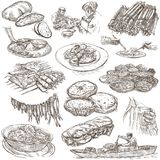 Food. Freehands, hand drawn collection. Line art. Stock Photography