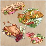 Food. Freehands, hand drawn vector collection. Line art techniqu Royalty Free Stock Image