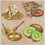 Food. Freehands, hand drawn vector collection. Line art techniqu Stock Image