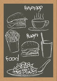 Food French fries Burger handwriting Royalty Free Stock Photos