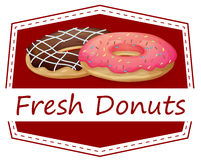 A food with a fresh donuts label Royalty Free Stock Photos
