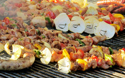 Food, fried sausages on grill Stock Images