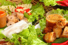 Food fried spring rolls and Vietnamese. With fresh vegetables Stock Photo