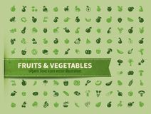 Food. fruit and vegetables icon set Stock Images