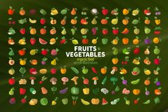 Food. Fruit and vegetables. Set of colored icons Royalty Free Stock Photography