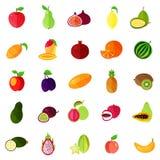 Food fruits like apple and pear, kiwi and orange. Isolated natural fruits, durian or durio, pitaya or pitahaya, dragon fruit and apple, pear and banana, lemon Stock Image