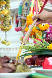 Food and Fruits to worship of Buddha. Stock Photo
