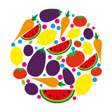 Food. Fruits and vegetables in a circle shape Royalty Free Stock Photo