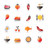 Food, Fruits and Vegetables Colorful Icons Royalty Free Stock Photo