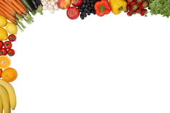 Food, fruits and vegetables with copyspace Stock Images