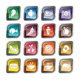 Food, Fruits and Vegetables Icons Stock Photos