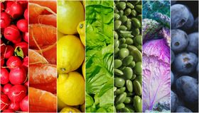 Food fruits vegetables rainbow. Food rainbow vegetables and fruits background Royalty Free Stock Photo