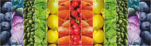 Food fruits vegetables rainbow. Food rainbow vegetables and fruits background Stock Photo