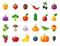 Food. fruits and vegetables set icons. vector Royalty Free Stock Photo